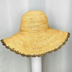 Athleta Accessories - ATHLETA Straw Hat With Scalloped Edge